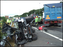 Crash scene on the M62