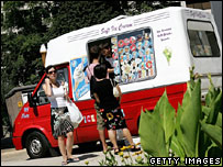 People queueing at ice cream van in London