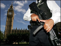 An armed policeman outside Big Ben