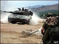 Tanque israelí en el sur de Líbano.