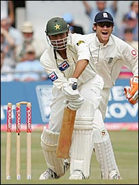 Younis Khan is bowled at Headingley