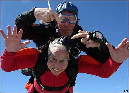 Mary Armstrong, 90, with her tandem instructor Clem Quinn