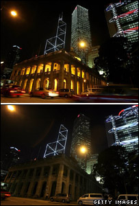 Hong Kong legislature building and commercial buildings before and during black-out