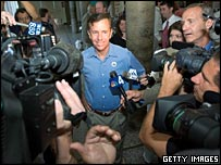 Ned Lamont appears before the media on election day