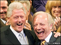 Bill Clinton with Joe Lieberman at a campaign rally in July