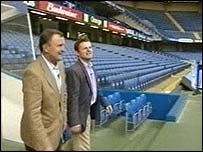 Chris Hollins and his dad John Hollins at Chelsea FC