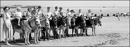 Donkeys in Bridlington, East Yorkshire, date unknown (Seasides of the Past, English Heritage)