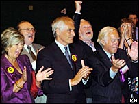 Robert Kilroy-Silk (third left) in 2004 after being elected into the European Parliament