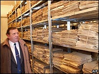 Securitate files in Bucharest. File photo