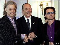 Bob Geldof, Jacques Chirac, Bono