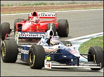Jacques Villeneuve's Williams leads Michael Schumacher's Ferrari during the 1997 Spanish Grand Prix