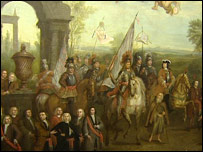 The painting depicts King William III's arrival in Ireland
