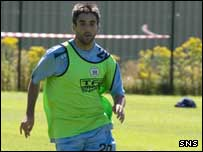 Keith Lasley training with Kilmarnock