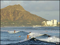 Surfers off Waikiki beach, Oahu