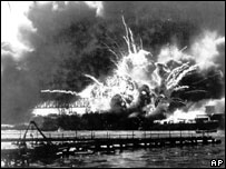 The USS Shaw explodes during the attack on Pearl Harbour, 7 December 1941