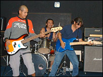 (l-r) Danny on bass, Stan on drums, Carlos Barientos III on lead guitar (2004)
