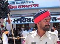 Police stands in front of Sahib Hospital in Patran
