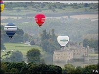 Hot air balloons over Leeds Castle in Kent