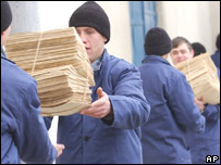 Romanian soldiers unload Securitate files, March 2005