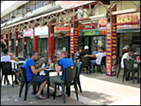 Life is returning to normal for these residents of Kiryat Shmona, eating on the patio of a restaurant