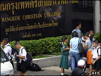 Students wait for their transportation outside the Bangkok Christian College 