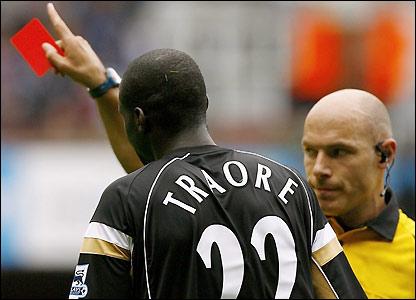 Djimi Traore is sent off
