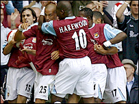 Bobby Zamora is congratulated by his West Ham team-mates