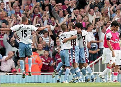 Villa celebrate Olof Mellberg's goal