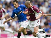 Rangers' Jeremy Clement (left) challenges Calum Elliot