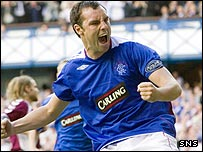 Kris Boyd was on target twice at Ibrox