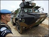French combat engineers arrive at port of Naqoura, Lebanon, 19 Aug 06