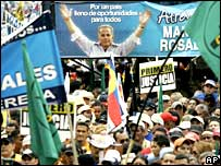Supporters of Manuel Rosales at a rally in Caracas