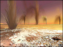 Artist's impression of geysers on Mars