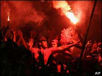 Flamengo's fans cheer during a game against Vasco in the Maracana