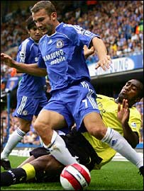 Andriy Shevchenko shields the ball from Sylvain Distin