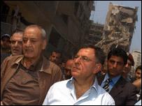 فؤاد السنيورة ونبيه بري في الضاحية الجنوبية لبيروت 20 آب 2006