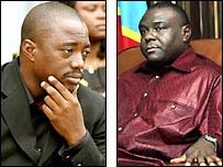 President Joseph Kabila and his nearest rival Jean-Pierre Bemba (r)