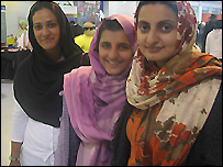 Zarina Javed (front) with daughter Anumm and daughter-in-law Rabia