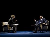 Michael Sheen and Frank Langella as David Frost and Richard Nixon