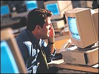 Man staring at computer screen