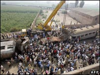 Scene from the train crash in Qalyoub, Egypt on 21 August 2006