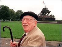 Joe Rosenthal in front of the Marine Corps Memorial in 1995