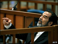 Saddam Hussein in court on the opening day of the Anfal trial on 21 August 2006