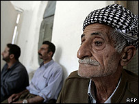 Elderly Iraqi Kurd witness to the Anfal campaign sits in Dahuk fortress where the Iraqi army allegedly tortured Kurds during the 1980s