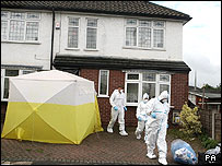 Scenes of crime officers at the house at Turves Road