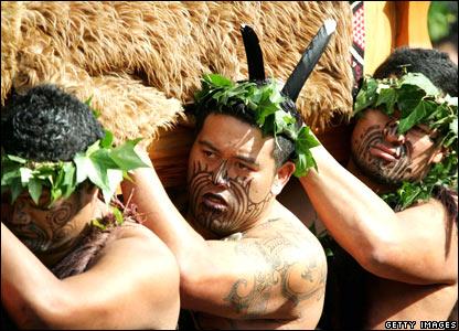 Maori Warriors carry the coffin of Queen Te Arikinui Dame Te Atairangikaahu to Mount Taupiri, 21 August