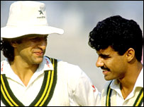 Wasim Akram and Waqar Younis during a Test-match in 1990