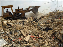 Bulldozer clears rubble in Lebanon
