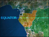 Equator line through Africa