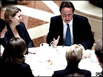 David Cameron with Tory women candidates on Monday